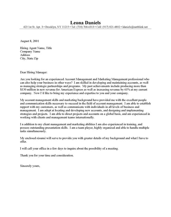Account Management Cover Letter Sample