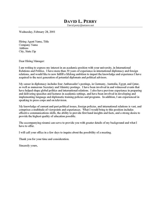 Cover letter sample professor