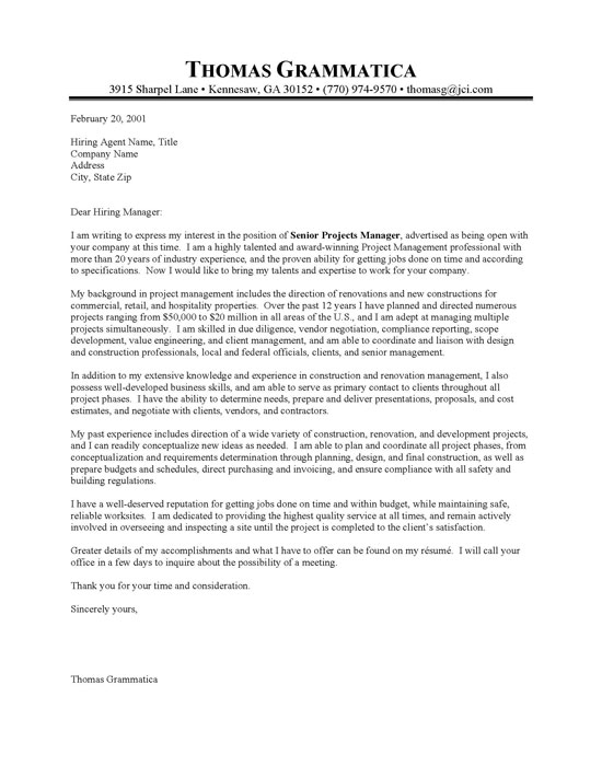 Construction Property Manager Cover Letter | Resume Cover Letter