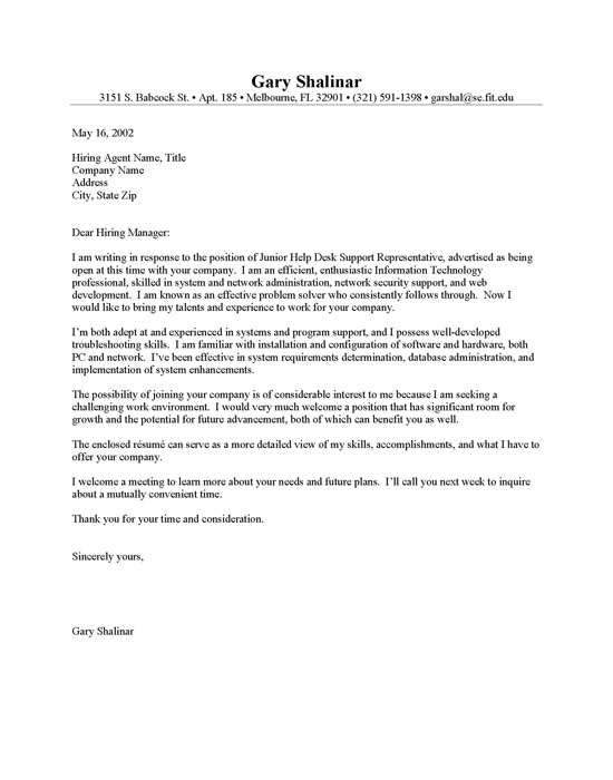 Entry Level IT Cover Letter | Resume Cover Letter