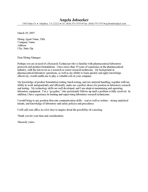 Research technician cover letter sample