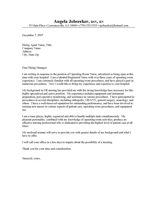 Example of a nursing cover letter for a resume