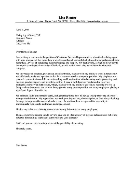Customer Service Cover Letter Sample | Resume Cover Letter