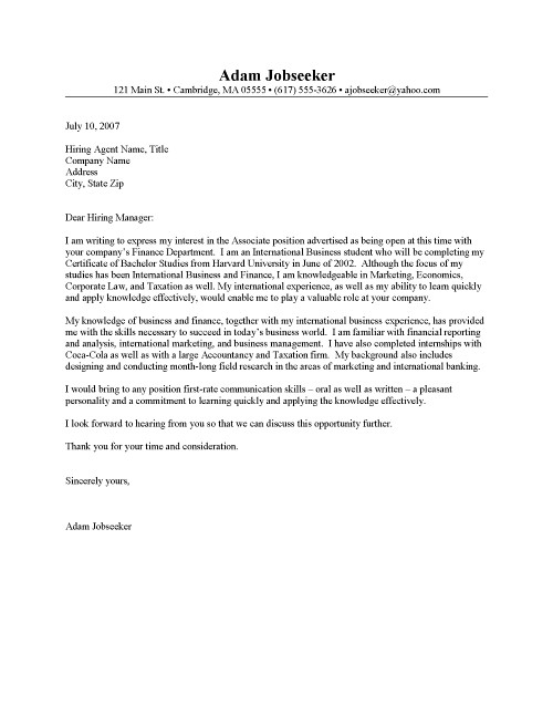 example of cover letter for internship. Internship Cover Letter Sample