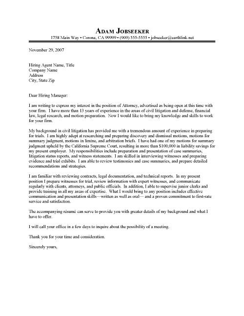 Junior Attorney Cover Letter Sample | Resume Cover Letter