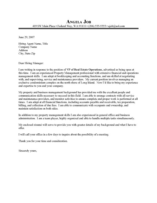 Property Manager Cover Letter Sample Resume Cover Letter