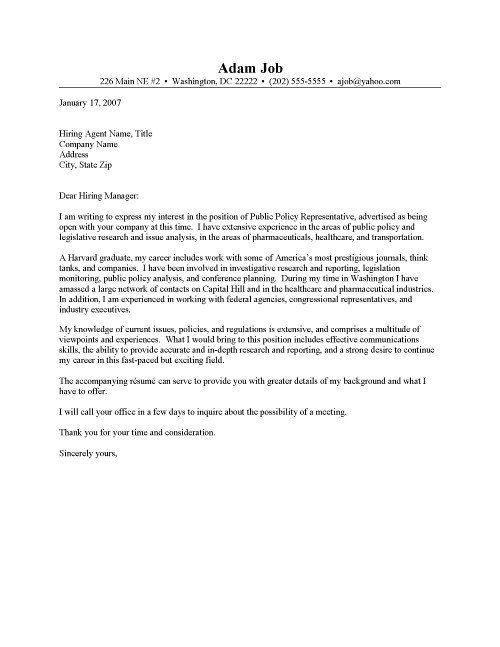 Public Policy Advocate Cover Letter Sample