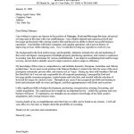 Food and Beverage Manager Cover Letter Sample